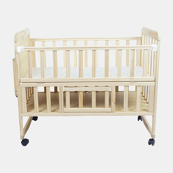 Solid Wooden Cot and Cradle - Baby Crib - Bed