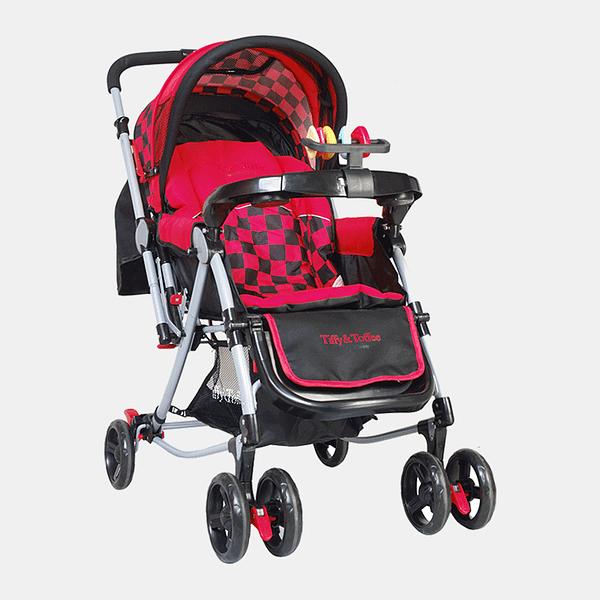 3 in 1 Baby Stroller Pram Buggy - Red Black - Front