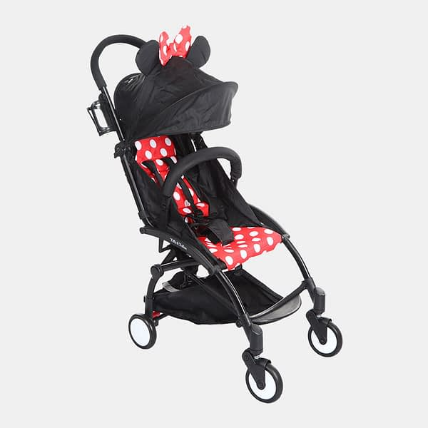 Portable Clever Baby Stroller Pram Buggy - Polka Red - Side