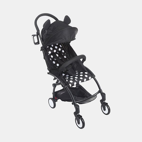 Portable Clever Baby Stroller Pram Buggy - Polka Black White - Side