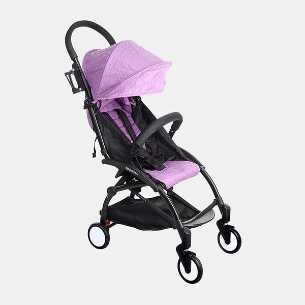 Portable Clever Baby Stroller Pram Buggy - Black Purple - Side