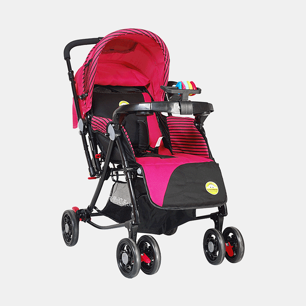 Grand 3 in 1 Baby Stroller Pram Buggy - Pink - Side