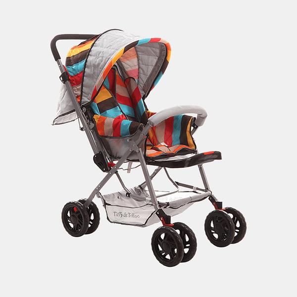Smart and Safe Baby Stroller Prams Buggy - Multicoloured Stripes