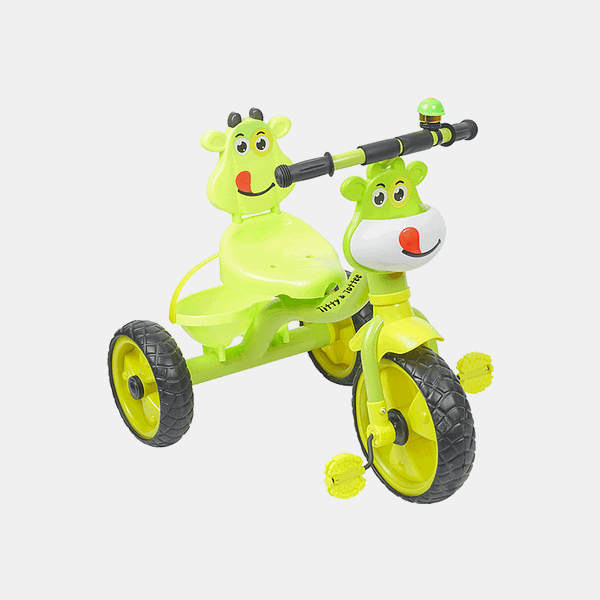 Happy Rider Kids Tricycle - Green Yellow - Front