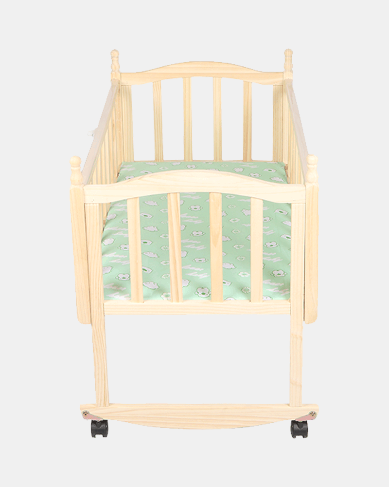 Happy Nature Wooden Cot and Cradle - Baby Crib - Bed