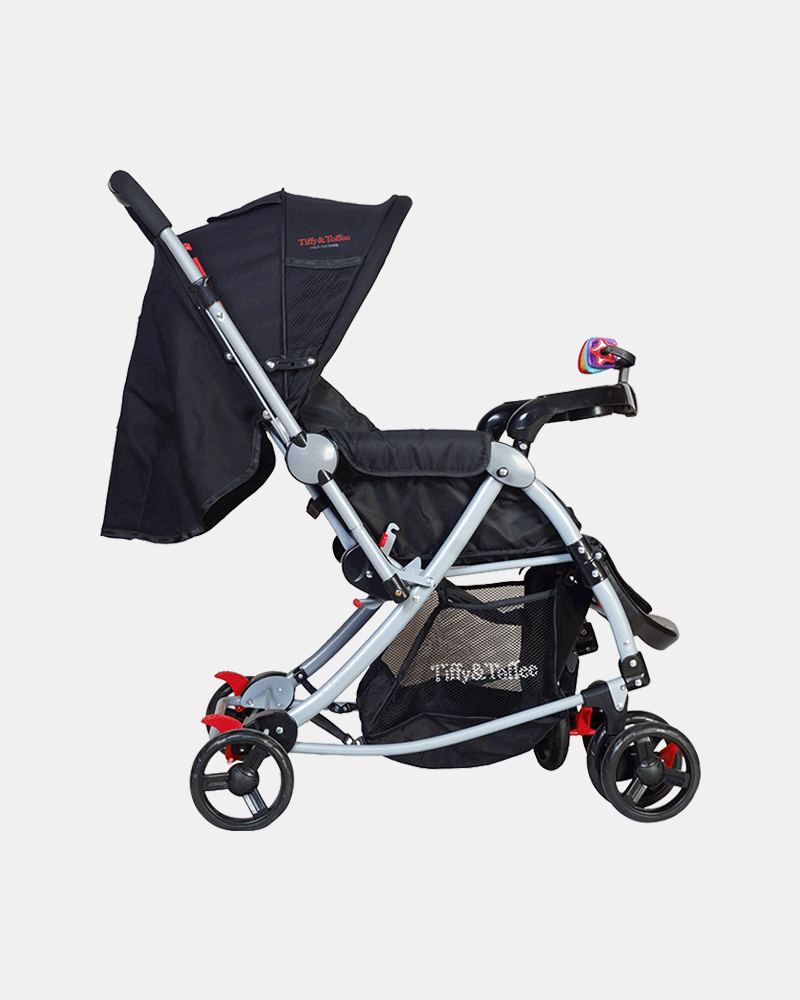 3 in 1 Baby Stroller Pram Buggy - Black - Side