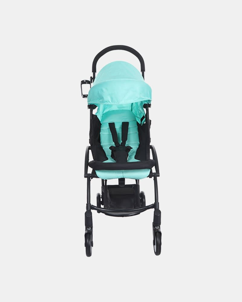 Portable Clever Baby Stroller Pram Buggy - Black Mint Green - Front