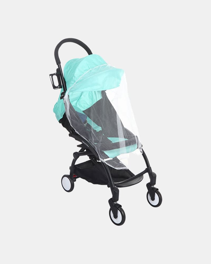 Portable Clever Baby Stroller Pram Buggy - Black Mint Green - Mosquito Net