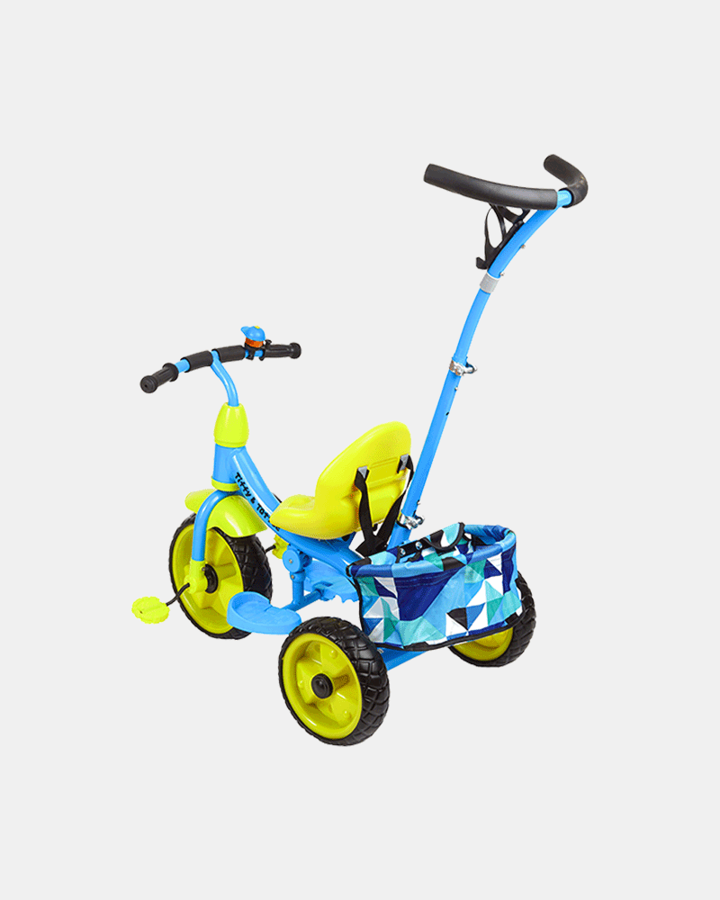 Kids Tricycle - Smart Safe - Blue Yellow - Back