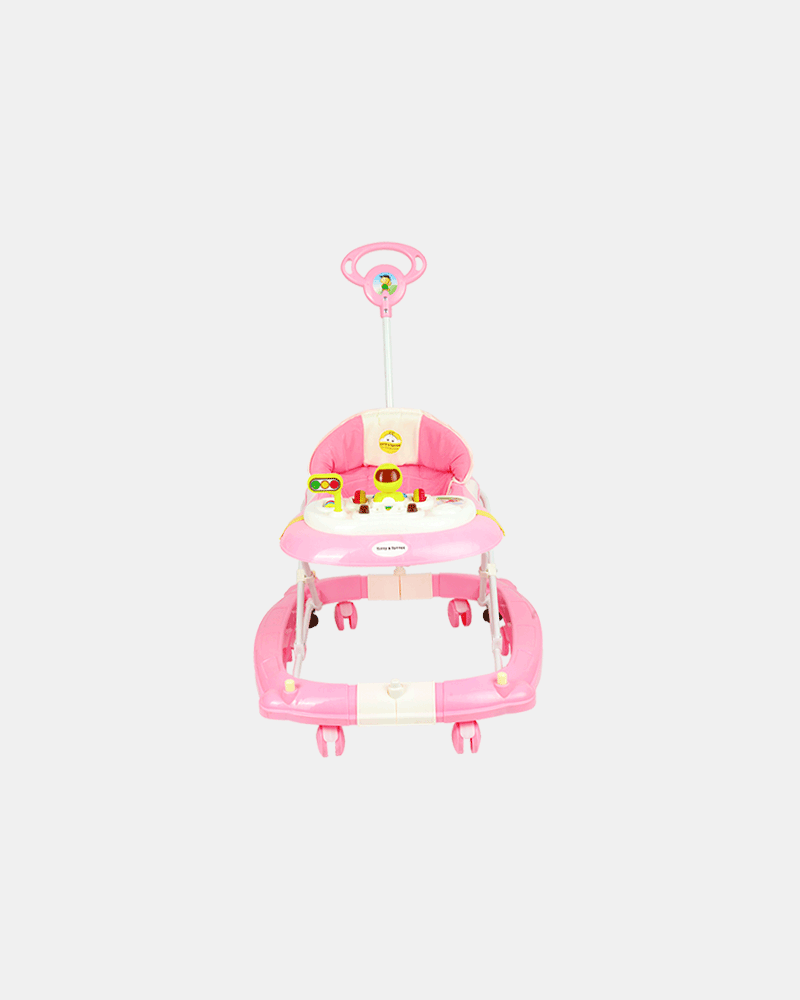 2 in 1 Baby Walker - Early Learning - Pastel Pink - Front